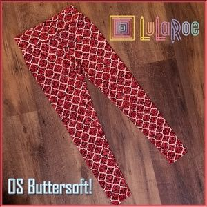 LuLaRoe Brick Red Pattern Butter Soft OS Leggings
